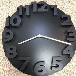 Modern solid black clock